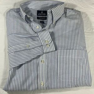 Stafford 15 1/2 Mens Button Front Stripped Shirt